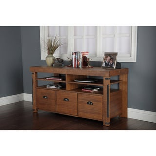 Industrial Collection Rough Sawn Wood Credenza Console with 3 Lateral File Drawers