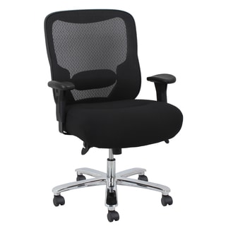 Essentials by OFM Big and Tall Swivel Black/ Chrome Mesh Office Chair with Arms