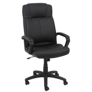 Essentials by OFM Swivel Black Leather Task Chair with Arms