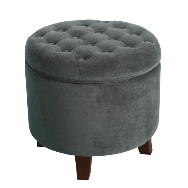 homepop velvet round storage ottoman gunmetal free shipping today 18999187. Black Bedroom Furniture Sets. Home Design Ideas