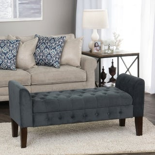 HomePop Gunmetal Grey Velvet Storage Bench Settee