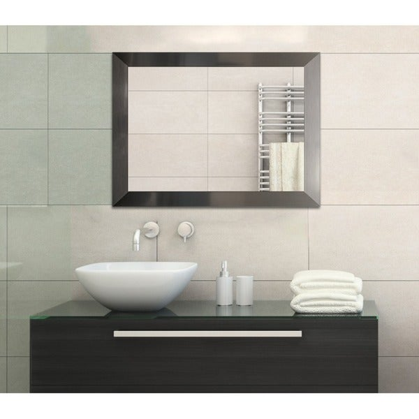 shop stainless steel finish framed bathroom full length mirror stainless steel silver free. Black Bedroom Furniture Sets. Home Design Ideas