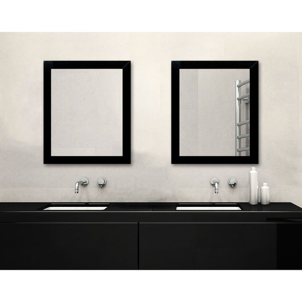 Matte black framed bathroom mirror free shipping today 18999223 for Black framed mirrors for bathroom
