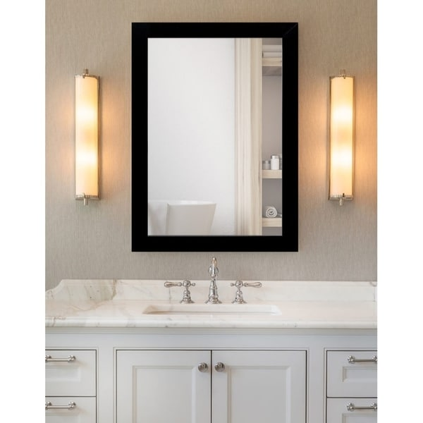 Shop Matte Black Framed Bathroom / Full Length Mirror ...
