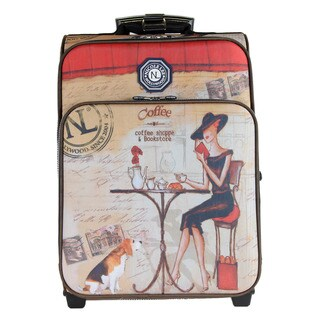 Nicole Lee Hailee Coffee Print 20-uinch Crinkled Nylon Carry On Upright Suitcase