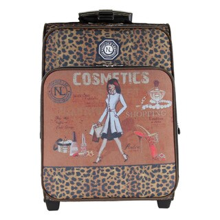 Nicole Lee Hailee Cosmetics Print 20-inch Crinkled Nylon Carry-on Upright Suitcase