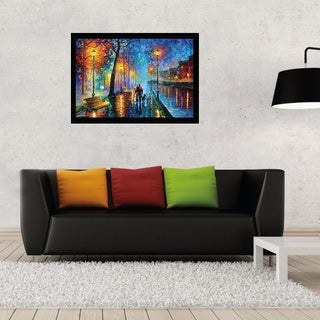 Leonid Afremov 'Melody of the Night' 24-inch x 36-inch Print with Black Wood Frame
