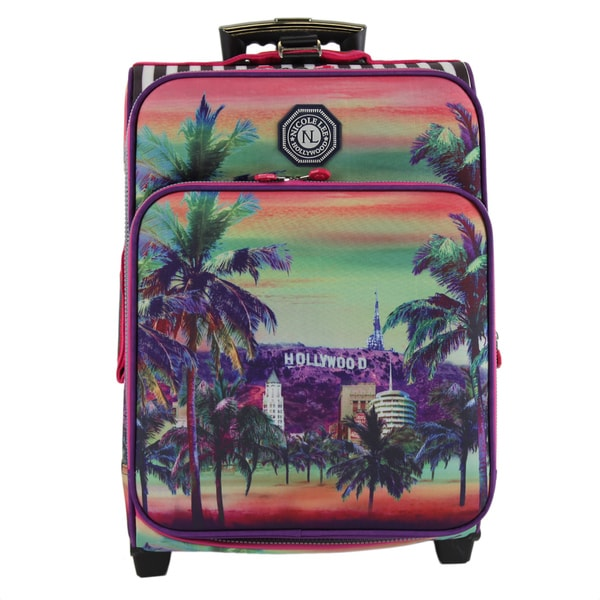 Nicole Lee Hailee Hollywood Print Multicolor Crinkled Nylon Polyester  20-inch Carry-on b28ffa21b0761