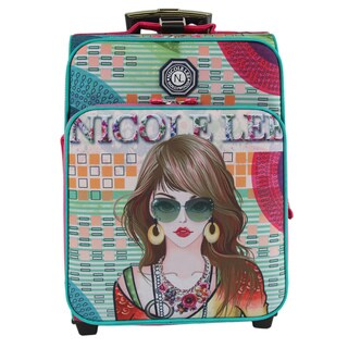 Nicole Lee Hailee Suzy Print Multicolor Nylon/Polyester 20-inch Crinkled Carry-on Upright Suitcase