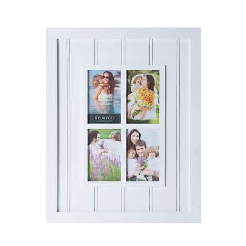 Melannco White Plastic Four-opening Slat Window 16-inch x 20-inch Collage Frame