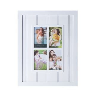 Melannco White Plastic Four-opening Slat Window 16-inch x 20-inch Collage Frame