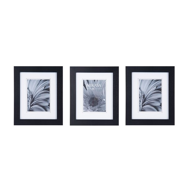Shop Mikasa Black/White Glass/Wood Frames (Pack of 3) - Free ...