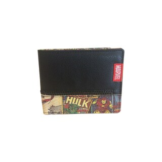 Marvel Retro Comic Red Synthetic Leather Bi-fold Zipper Detail Wallet