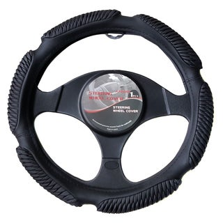 Apzona Black PU Universal Cover for 15-inch Steering Wheel
