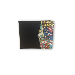 Marvel Retro Comic Red/Black Polyester/Synthetic Leather Bi-fold Printed Wallet