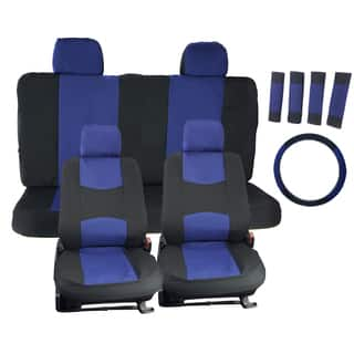 APZONA Universal Seat Covers Black And Blue Fit Most Cars Trucks SUVs Vans