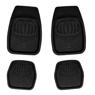 Apzona Tan/Black/Grey Rubber Multi-season Floor Mats for Most Cars, SUVs, Vans and Trucks (Pack of 4)