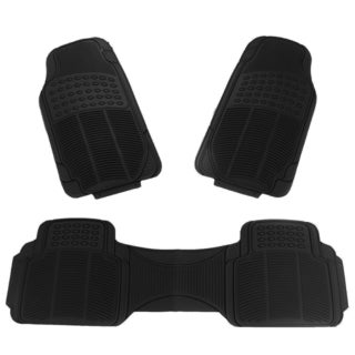 Apzona Tan/Black/Grey Rubber Multi-season Floor Mats for Most Cars, SUVs, Vans and Trucks (Pack of 3)
