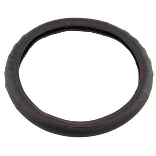 Apzona Black and Red Contour Lines PU Universal Steering Wheel Cover for 15-inch Steering Wheels