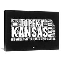 Naxart Studio 'Kansas Black and White Map' Stretched Canvas Wall Art