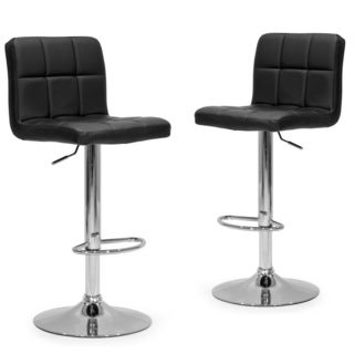 Aeron Black Faux-leather and Metal Adjustable Height Bar Stool (Set of 2)