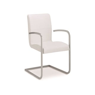 Talenti Casa Stella Collection Italian White Leather Arm Dining Chair