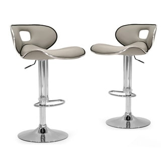 Adria White/Black/Grey Chrome Frame Adjustable Height Swivel Bar Stools with Faux Leather Seating (Set of 2)