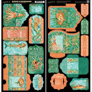 "Voyage Beneath The Sea Cardstock Die-Cuts 6""X12"" Sheets 2/Pk Tags & Pockets"