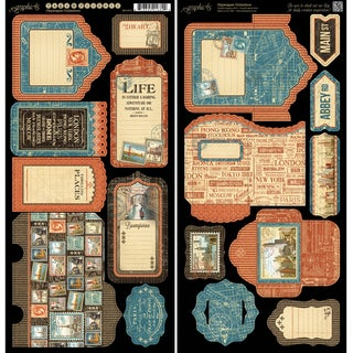 """Cityscape Cardstock Die-Cuts 6""""X12"""" Sheets 2/Pkg Tags & Pockets"""