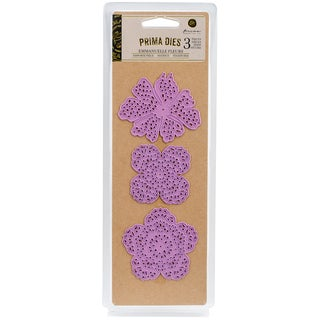 Prima Marketing Purple Metal Die Emmanuelle Fleurs 3/Pkg
