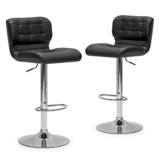 Adler Black Faux-leather and Metal Adjustable-height Bar Stool (Set of 2)