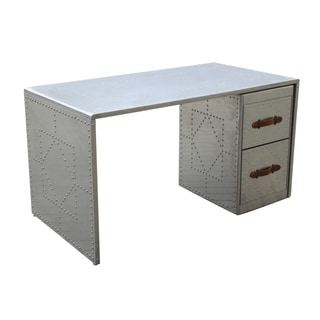 Fine Mod Imports Silver Aluminum, Leather Riveted Desk