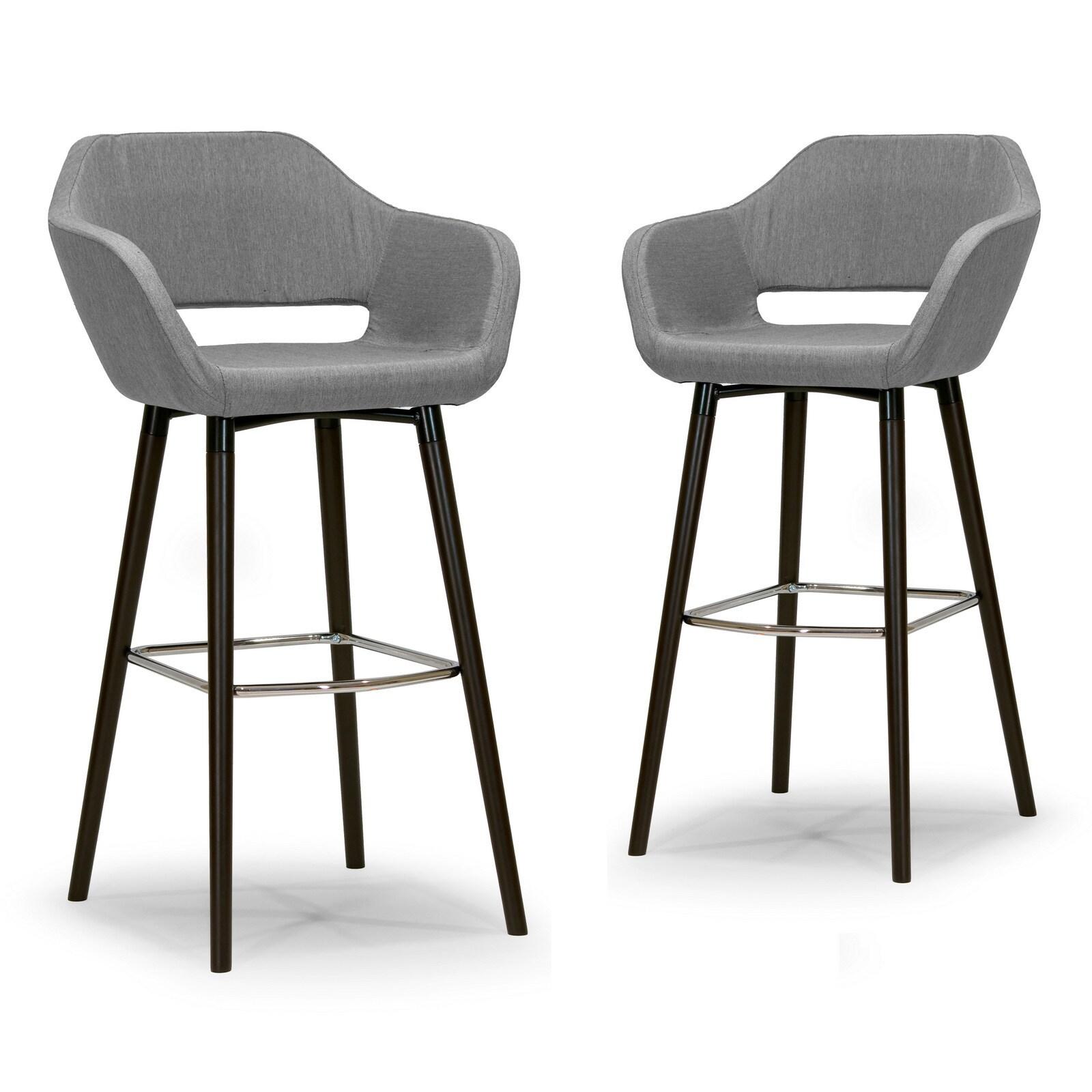 Modern Grey Bar Stools.Adel Modern Grey Fabric Bar Stool With Beech Legs Set Of 2