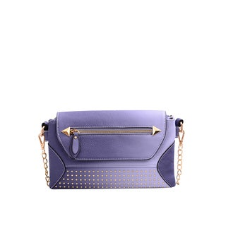 Raina Blue Faux Leather Studded Clutch