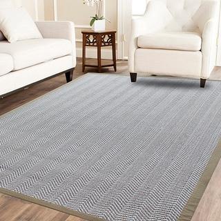 Powerloom Pet Sahara/White Sisal/Wool Herringbone Rug (5' x 8')