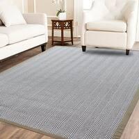 Powerloom Pet Sahara/White Sisal/Wool Herringbone Rug - 5'x 8'