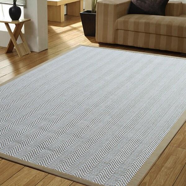Powerloom Pet Sahara White Sisal Wool Herringbone Rug 5
