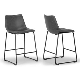 Link to Adan Faux Leather Iron Frame Bar Stool (Set of 2) Similar Items in Dining Room & Bar Furniture