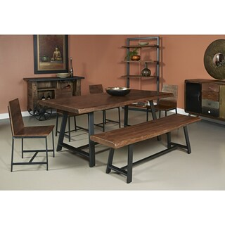Somette Acacia Wood and Iron Dining Table - Brown