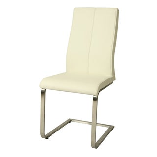 Olander Silver/Off-white Stainless Steel/Polyurethane Side Chair