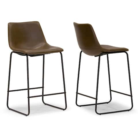 Carbon Loft Richard Faux Leather and Iron Counter Stool (Set of 2)