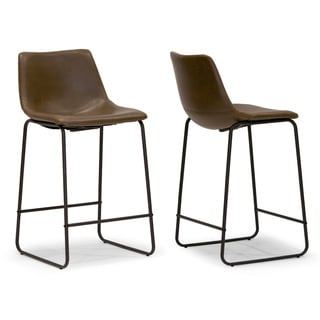 Adan Brown Faux Leather/Iron Counter Stool (Set of 2)  sc 1 st  Overstock.com & Faux Leather Bar u0026 Counter Stools - Shop The Best Deals for Nov ... islam-shia.org