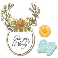 Sizzix Framelits Dies 5/Pkg W/Stamps Sweet Deer