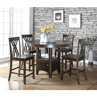 Annie Five 5-pieces Counter Height Solid Wood Dark Espresso Storage Dining set