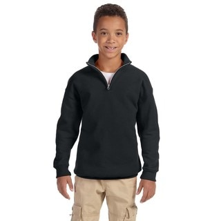 Boys' Nublend Black 50/50 Cotton/Polyester 8-ounce Quarter-zip Cadet Collar Sweatshirt