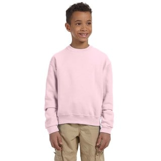 Nublend Boys' Classic Pink Cotton and Polyester Crewneck Sweatshirt