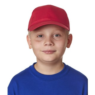 Classic Cut Boy's Red Cotton Twill 6-panel Cap