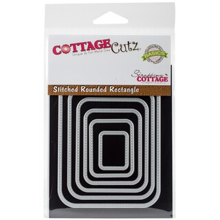 "CottageCutz Basics Dies 6/Pkg Stitched Rounded Rectangle, .9""X4.25"""