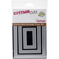 CottageCutz Basics Wide Frame Dies 3/Pkg Stitched Rectangle 2.5x1.5 To 4.75x3.75