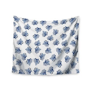 KESS InHouse Jennifer Rizzo 'Blue Garden Flowers' Floral White 51x60-inch Tapestry